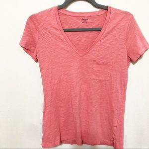Madewell V-Neck Pocket Whisper Cotton T Shirt Pink
